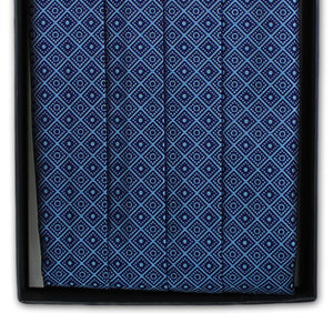 Blue Squares Cummerbund and Bow Tie Set (JH-CB002)