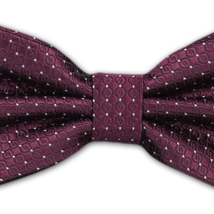 Burgundy with Small White Spot Cummerbund and Bow Tie Set (JH-CB003)