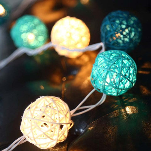 5M 20 Rattan Ball String LED Waterproof Outdoor Fairy Lights