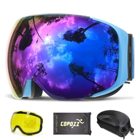 Magnetic Ski Goggles with Quick-Change Lens and Case Set