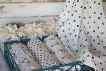 Modern swaddle bundle of XOXO, milk jug, +plus and teepee designs