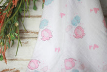 Pink Elephants swaddle with display flowers