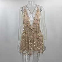 Deep V Line Sequin Romper Dress