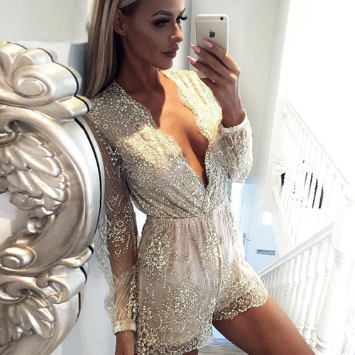 Beige Long Sleeve Sequin Romper