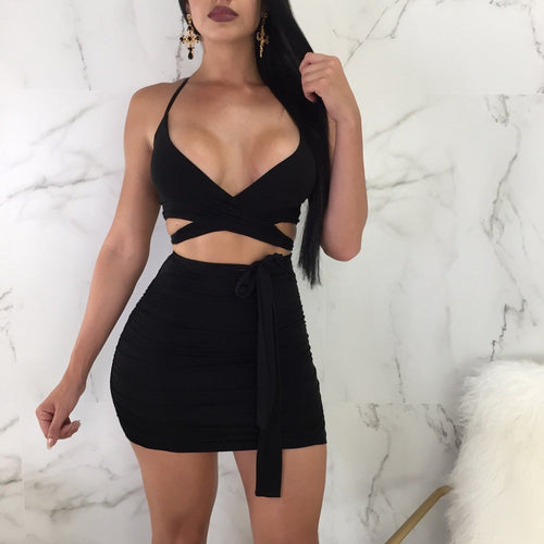 Two Pieces Sexy V Neck Bandage + Skirts Set