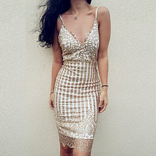 Deep V Sequin Dress