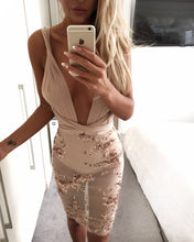 Deep V Neck BodyCon Sequin Dress