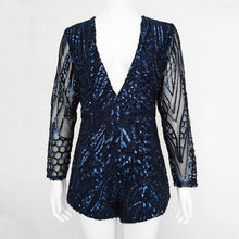 Deep V Neck Long Sleeve Sequin Romper