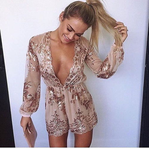 Deep V Line Long Sleeve Sequin Romper