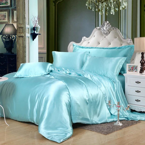 Luxury 4 Pieces Solid Silky Satin Bedding Set