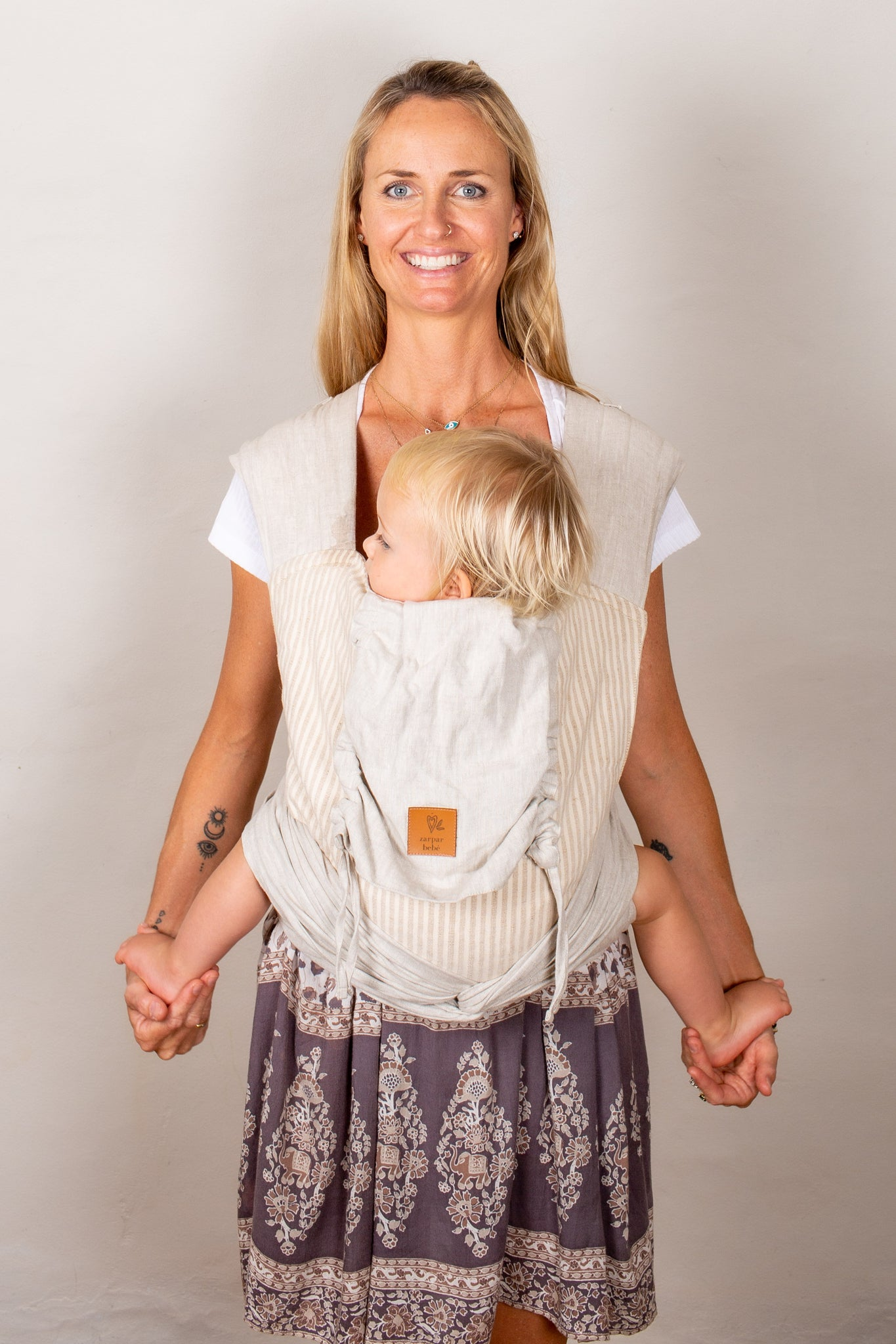 Linen Wrap Baby Carrier - Refined Stripe