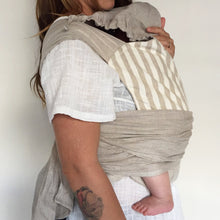 Load image into Gallery viewer, Natural Stripe Wrap Baby Carrier
