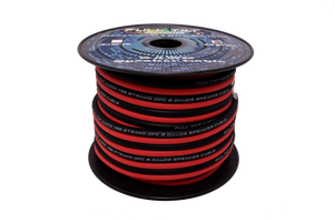 Red & Black 8 Gauge OFC Speaker Wire 50ft Spool