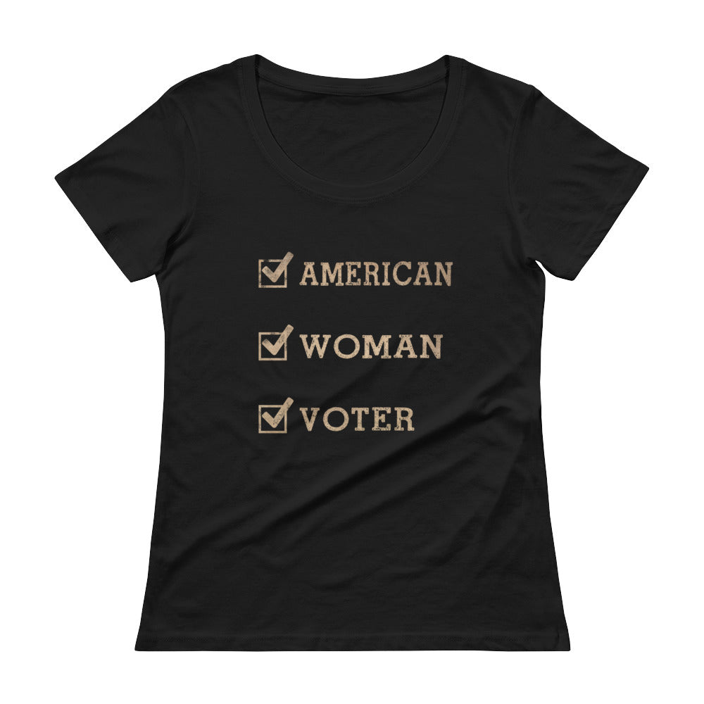 American-Woman-Voter (dark) Scoopneck T-Shirt