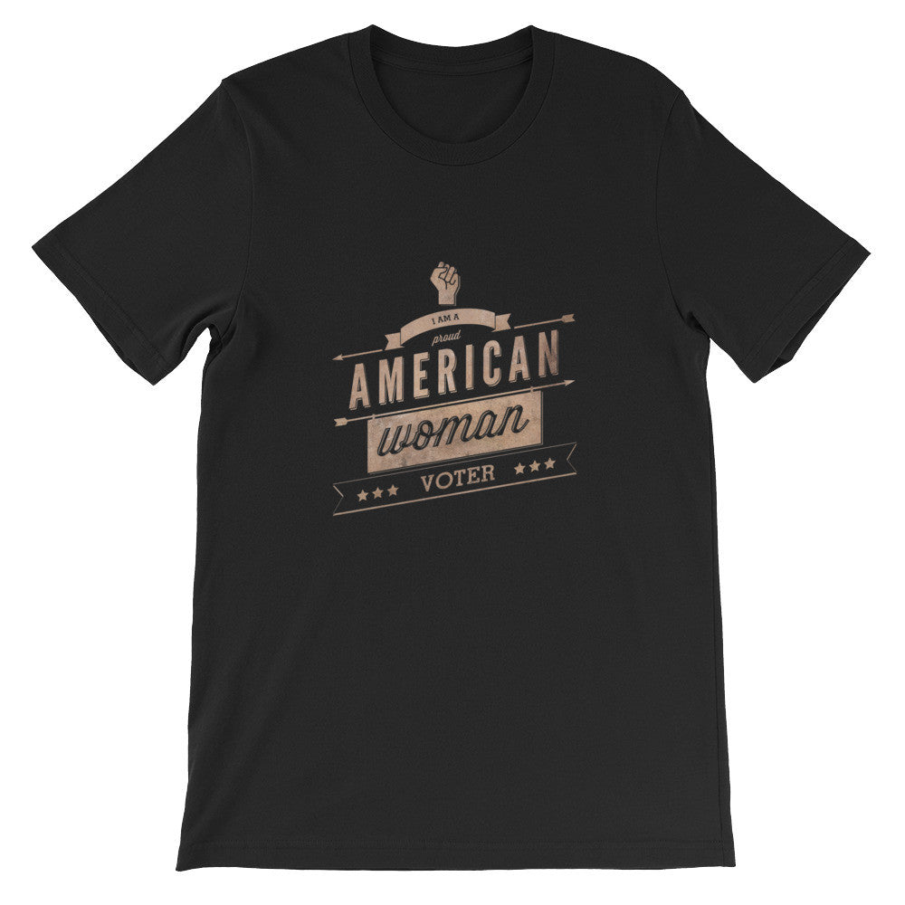 Retro Style American-Woman-Voter (dark) t-shirt