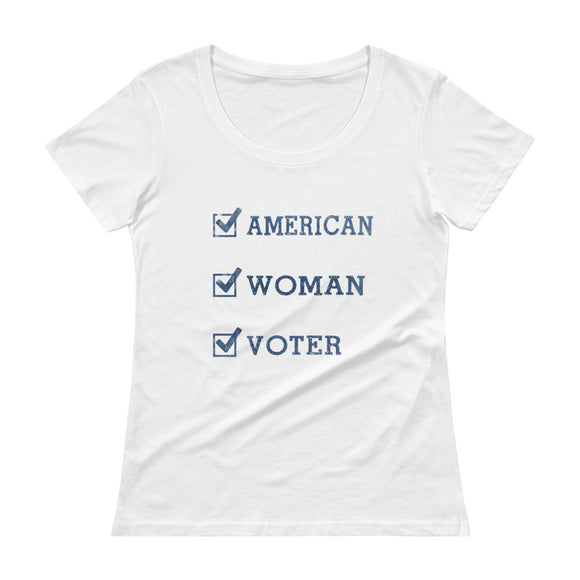American-Woman-Voter (light) Scoopneck T-Shirt