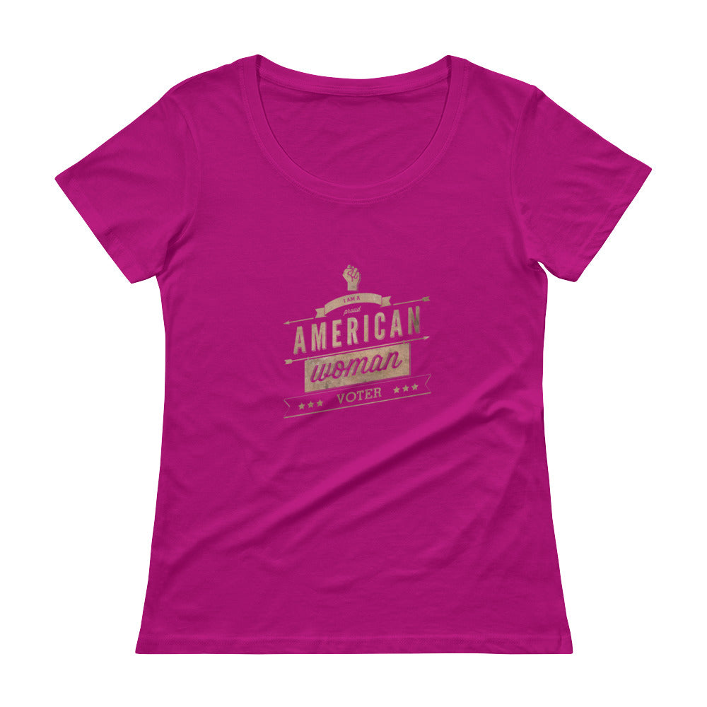 Retro Style American-Woman-Voter (dark) Scoopneck T-Shirt