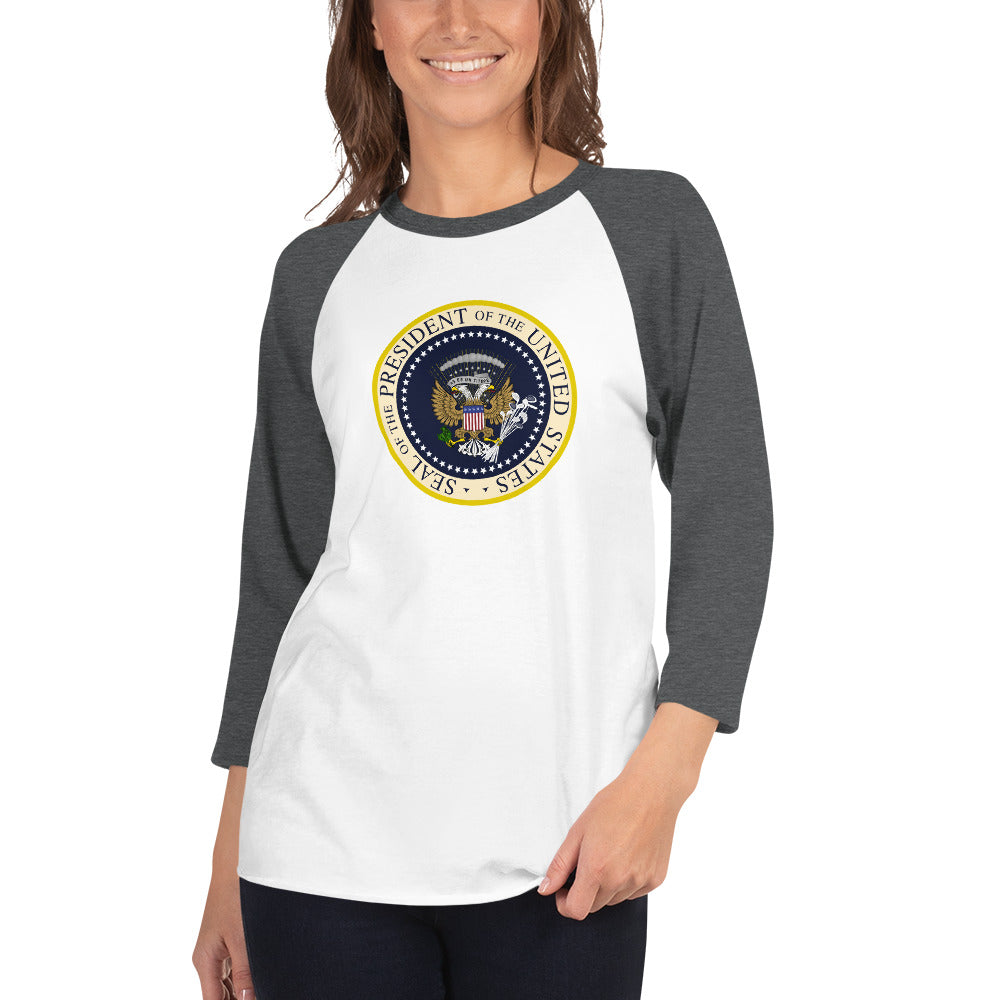 Donnie's Presidential Seal 3/4 sleeve raglan shirt