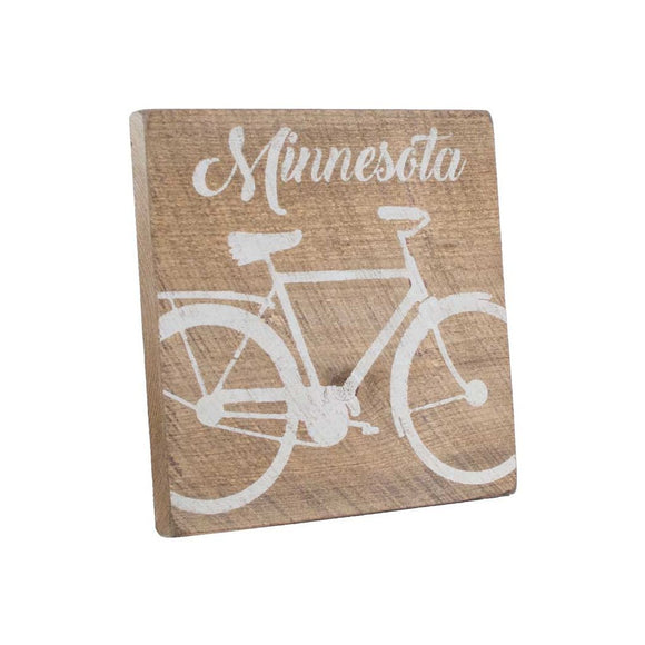 Bicycle Vintage Wood Square- Minnesota