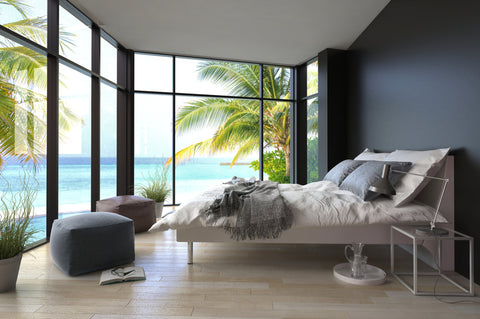 tropical, bedroom, declutter