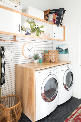 laundry, dufresne, washer, dryer, diy, waterfall counter, counter room