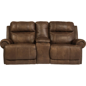 Austere Reclining Loveseat with Console - Brown