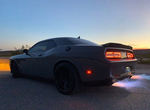 Flames Burnout Whipple Powered Scat Pack Challenger is Mantic Equipped