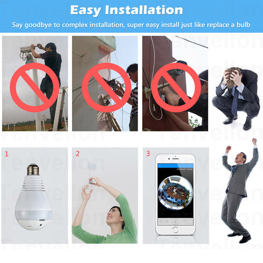 Light Bulb Wireless Camera With 1 3MP Camera and 360 degree View - WiFi  CCTV With Panoramic View