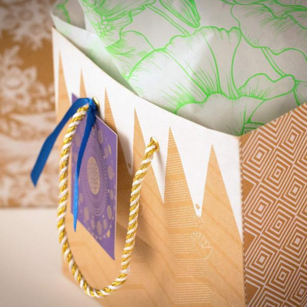 Kraft Gift Bag, Lotus Design - [product-type] - Inclusive Trade