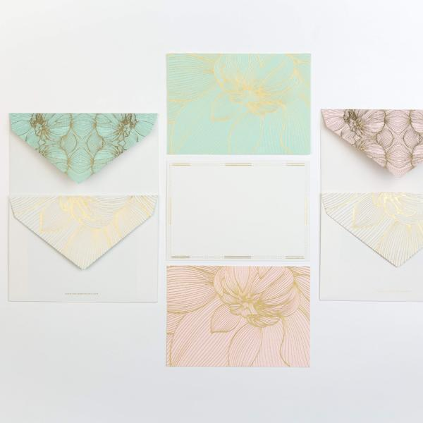 Note Set, Flower Power Design -Sea Green/Blush (12 x Note Card + Envelopes) - [product-type] - Inclusive Trade