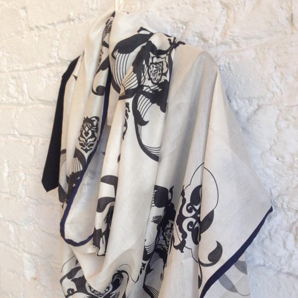 Fine mul mul hand screen printed cotton scarf - [product-type] - Inclusive Trade