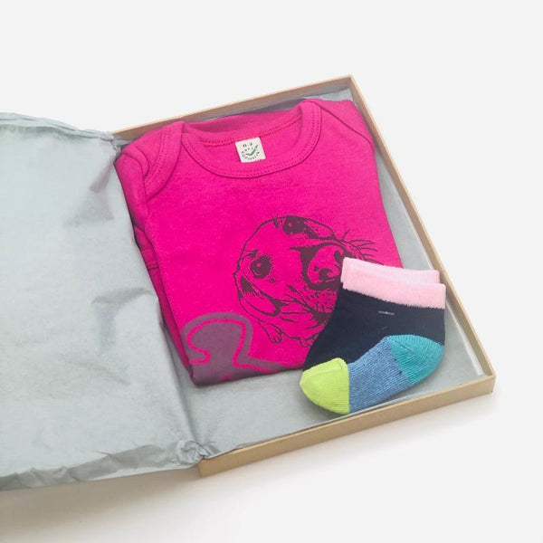 Baby gift set - baby grow with pair of socks pink 'Dog and Bone' - [product-type] - Inclusive Trade