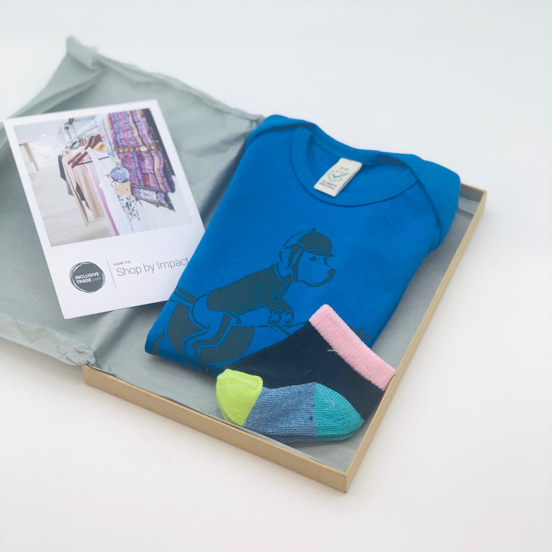 Baby gift set - baby grow with pair of socks blue Equestrian Alfie - [product-type] - Inclusive Trade