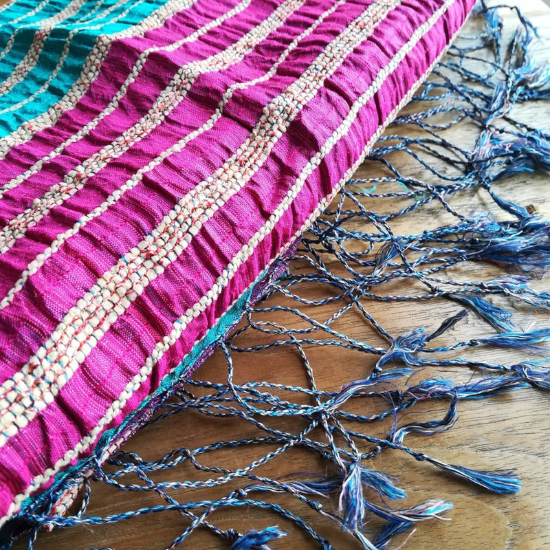 Lotus & Silk handwoven exclusive scarves from Myanmar- Turquoise & pink - [product-type] - Inclusive Trade
