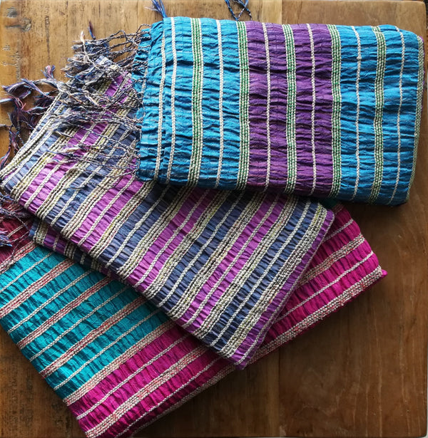 Lotus & Silk handwoven exclusive scarves from Myanmar- Blue & Purple - [product-type] - Inclusive Trade