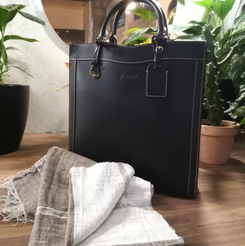 Limited Special - leather black handbag & handwoven scarf - [product-type] - Inclusive Trade