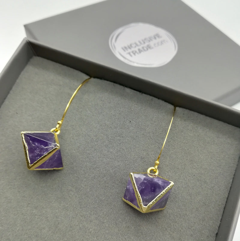 24 carat gold plated - Desert Rose - earrings - Violet - [product-type] - Inclusive Trade
