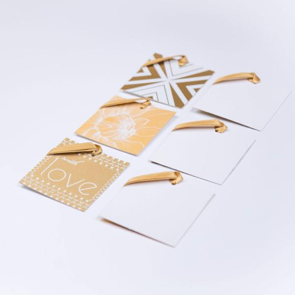 Gift Tag + Ribbons, Handmade, Silk Screened, Gold / White (Set of 6) - [product-type] - Inclusive Trade