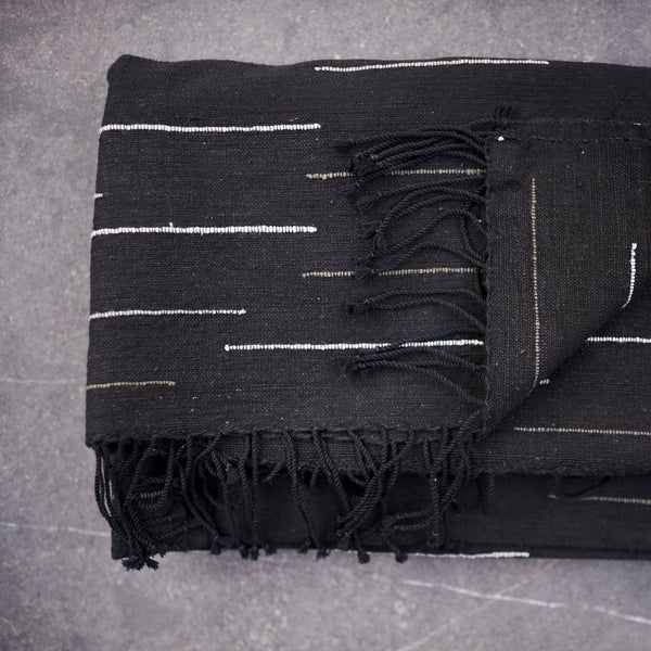 Handwoven cotton scarves from Ethiopia - White in Black - [product-type] - Inclusive Trade