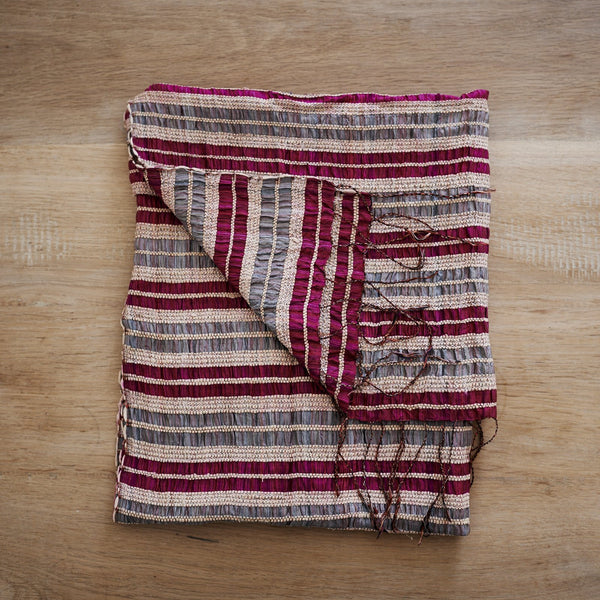 Lotus & Silk handwoven exclusive scarves from Myanmar- pink & grey - [product-type] - Inclusive Trade