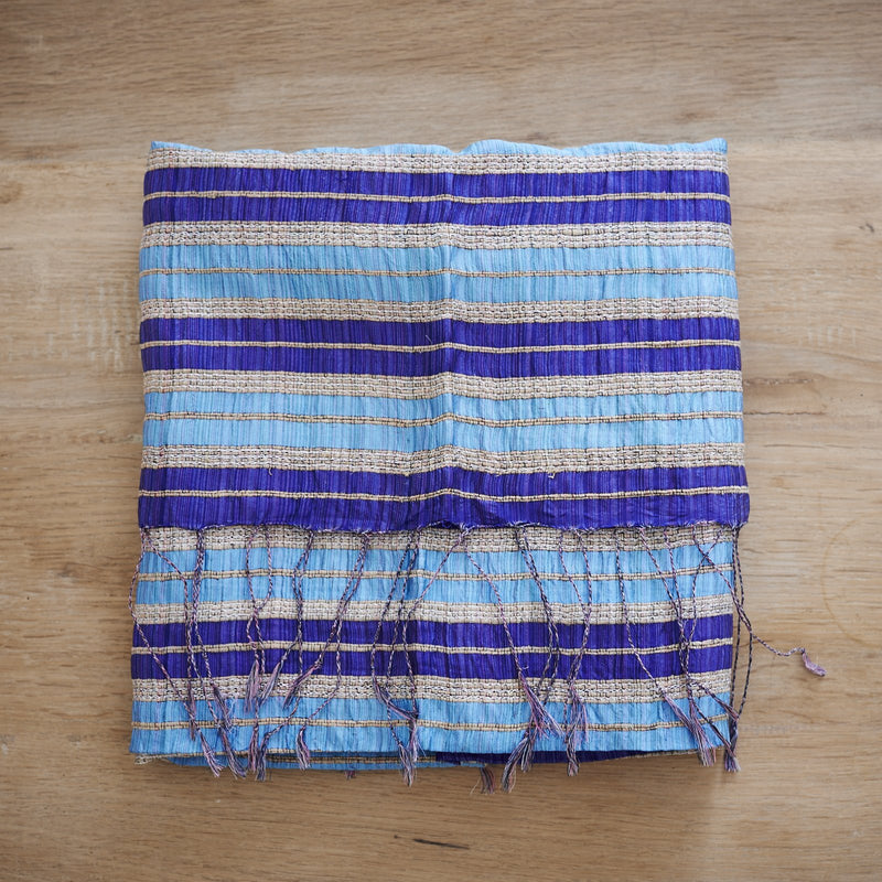 Lotus & Silk handwoven exclusive scarves from Myanmar- Blues - [product-type] - Inclusive Trade
