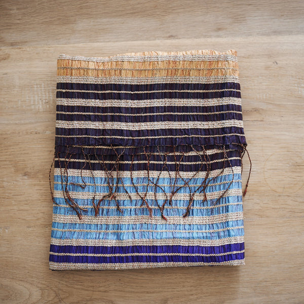 Lotus & Silk handwoven exclusive scarves from Myanmar- Blue, gold & black - [product-type] - Inclusive Trade