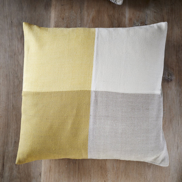 Handwoven cushion cover - Himalayan Merino Wool -  Sunny yellow - Inclusive Trade