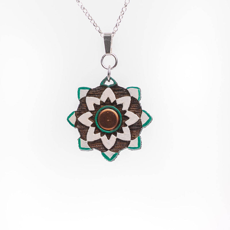 Silver and Wood Arabesque Necklace
