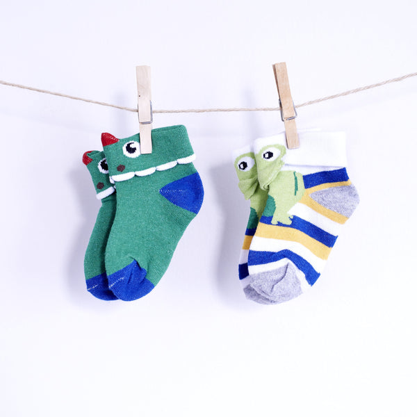 2 Pairs of 3d Animal Socks- Dino Croco & Jumpy Froggy - [product-type] - Inclusive Trade