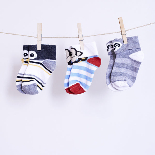 3 Pairs of 3D Animal Socks - Penny Penguin, Funky Monkey & Benji Badger - [product-type] - Inclusive Trade