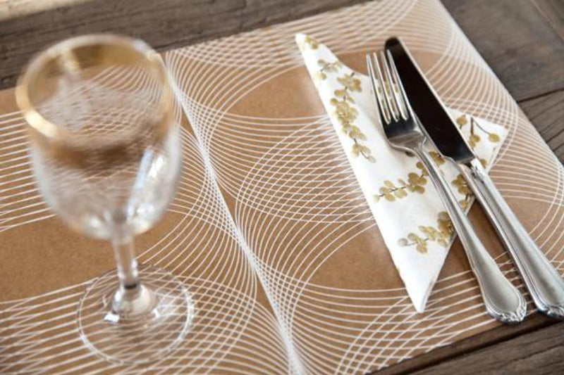 Table Mats, Laminated Kraft (Set of 6) - White - [product-type] - Inclusive Trade