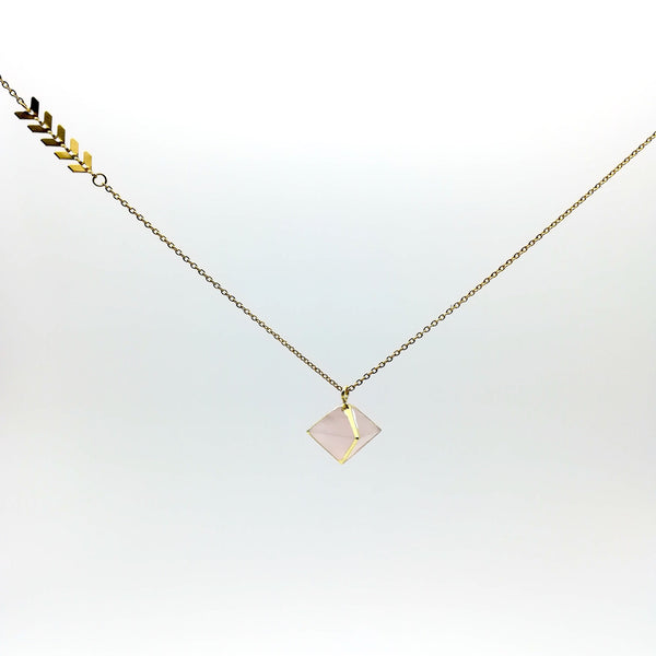 18 carat gold plated - Desert Rose - necklace - Rose Quartz - [product-type] - Inclusive Trade