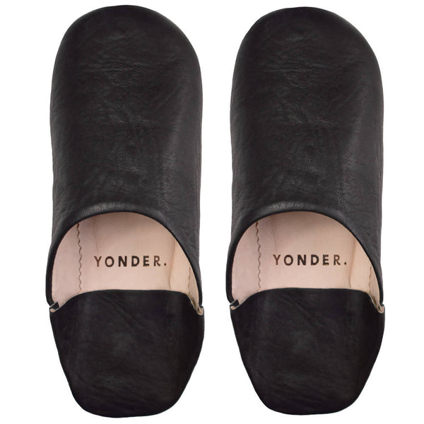 Leather Babouche Slippers - black - [product-type] - Inclusive Trade