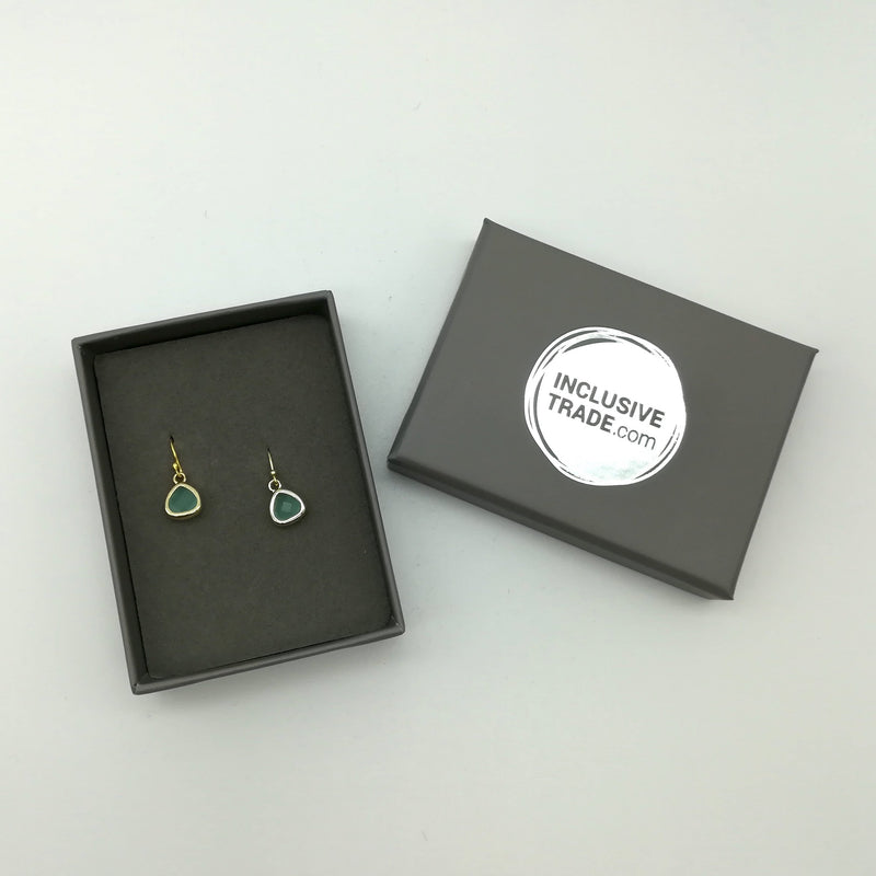 18 carat gold plated - Threads of Joy - Earrings - Teal - [product-type] - Inclusive Trade